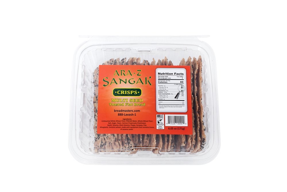 ARA-Z Sangak Crisps Multi Seed - Shop Online now From Breadmasters.com. Toasted and ready to eat with your favorite dishes and dips.