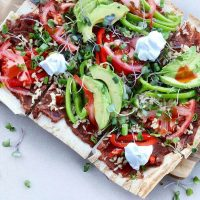 Refried-Beans-Avocado-pizza-breadmasters-breadmasters.com-lavash-araz-arazlavash-foodie-recipes-bread-bakery-flatbreadrecipes-lavashrecipes-markook-sangak-sangakcrisps-persian-armenianlavas