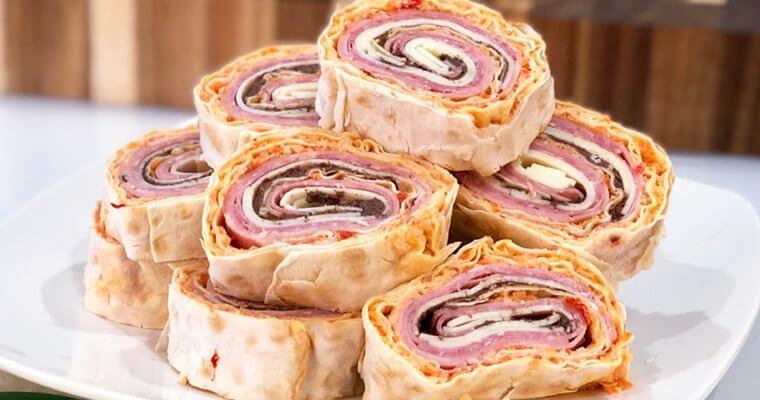 Muffuletta Pinwheels Lavash Flatbread Recipe with Breadmasters ARA-Z. Mortadella, Genoa salami and provolone all rolled up in ARA-Z Lavash Flat Bread!
