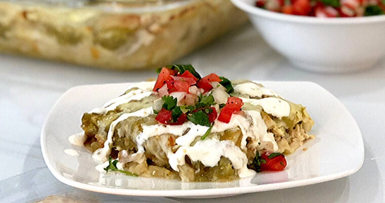 Green Chili Chicken Enchilada Casserole Markook Lavash Flatbread Recipe by Breadmasters ARA-Z. Layers of shredded chicken and melty cheese baked...