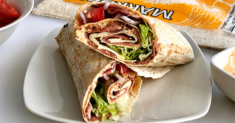 Roast Beef Markook Lavash Flatbread Sandwich Recipe by Breadmasters. All the fixings of a deluxe sandwich rolled up nice with spicy horseradish.